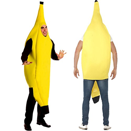 [Partiss Men's Adult Banana Deluxe Funny Halloween Costume ,One Sze,Yellow] (Banana Deluxe Adult Costumes)
