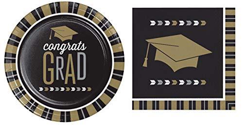 (Glitzy Graduation Disposable Paper Party Supplies Serves 16: Beverage Napkins + Lunch Plates)