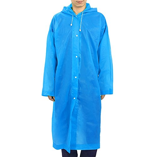 Outdoor EVA Raincoat Hooded Rainwear Light-weight Poncho for Transparent Cycling ( Color : Blue ) Blue