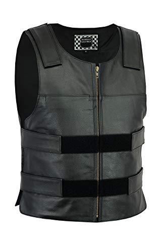 Highway Leather Men Bulletproof Style Motorcycle Vest Black