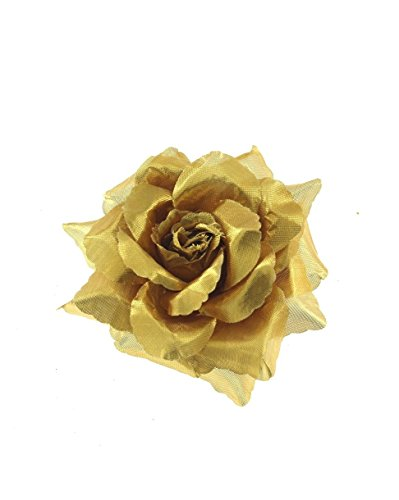 Zac's Alter Ego Women's Rose Flower On Concord Clip & Brooch Pin Approx. Diameter 10Cm , Height 3.5Cm Gold