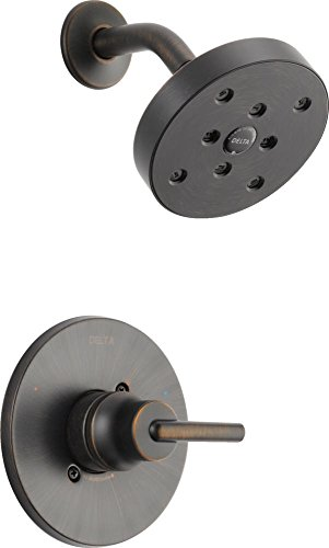 Delta Faucet Trinsic 14 Series Single-Function Shower Trim Kit with Single-Spray H2Okinetic Shower Head, Venetian Bronze T14259-RB (Valve Not Included)