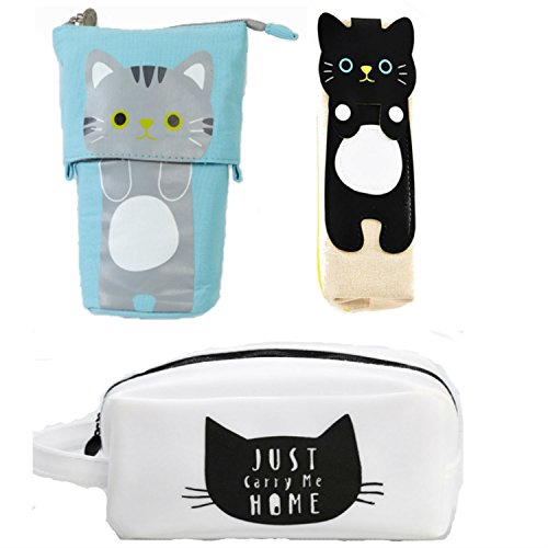 Pencil Holder Set of 3 - 1 pc Cute Pencil Case, Burlap with Black Cat, 1 pc Cat Standing Pencil Holder Blue, 1 Pc Funny Cat Small Pouch Make Up Bag, Cute Pencil Pouch (Burlap Pencil Case)