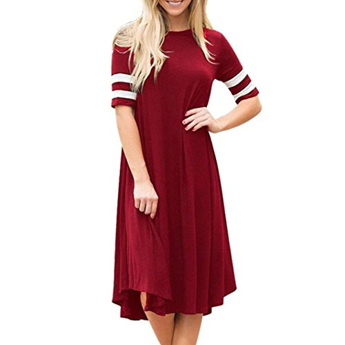 Cuff Sleeve Jeans (JSPOYOU Plus Size! Womens Casual Short Sleeve Cuff Stripe Dress O-Neck Short Sleeve Women Dress (CN-L/US-8, Wine Red))