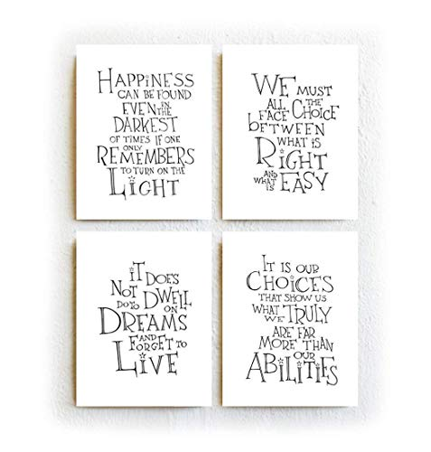 image regarding Printable Harry Potter Quotes titled Harry Potter Albus Dumbledore Prices - Fastened of 4, Black and White Typography Print upon Archival Matte Paper