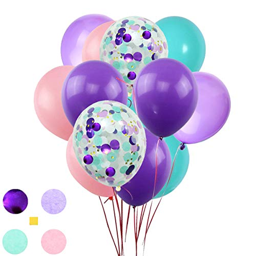 Purple Pink Turquoise Latex Balloons and Confetti Balloons,50 counts