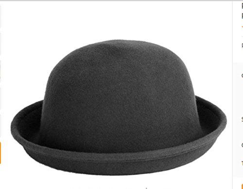 PAAT SHOPFashion Colorful Women's solid Felt Woolen Fedora Hat Lady Round Cap#Gray (Burgundy Felt Bonnet)