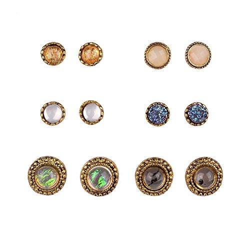 Shuning Assorted Planet Earring Circle Hemisphere Stone Pack Set 6 Pairs Antique (Gold Multi Circle Earrings)