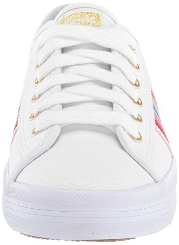 Keds Women's Kickstart Rainbow Webbing Sneaker, White, 9.5 M US