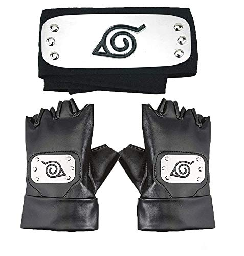 Master Online Naruto Headband, Leaf Village Headband and Cosplay Gloves Hatake Kakashi Ninja Cosplay Accessories(Black)