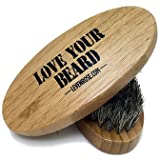 Wooden Boar Hair Bristle Beard Brush by Leven Rose, Perfect For a Beard Grooming Kit for Men, Made of Boars Hair Bristles and Firm Natural Wood, Great For Men's Gift