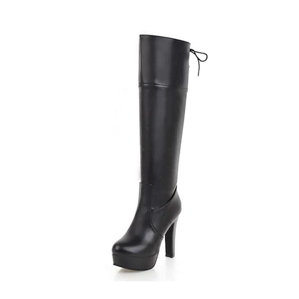HAOLIEQUAN Größe 33-45 damen Knee High Stiefel Winter Warm schuhe Woman Platform High Heels Long Stiefel Fashion Lace Up schuhe