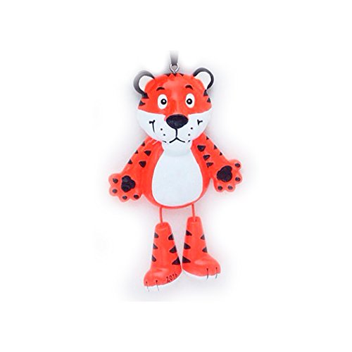 Personalized Forest Animals Christmas Tree Ornament 2019 - Cute Orange Tiger Dangling Legs Zoo Collection Adventure Toy Kingdom Costume Africa Nursery Leopard Jaguar Gift Year - Free Customization