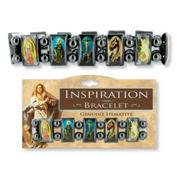 Creative Ventures Religious Saints Hematite Tile Stretch Bracelet