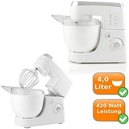Multi – Robot de cocina, incluye 3 Mix cabezales, bol 4liter con apertura de relleno, 420 W, color: blanco: Amazon.es: Hogar