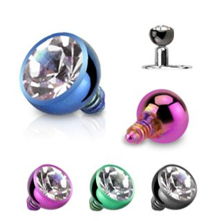 Dermal Top Titanium Anodized Internally Threaded Press Fit Round CZ 14g 3mm