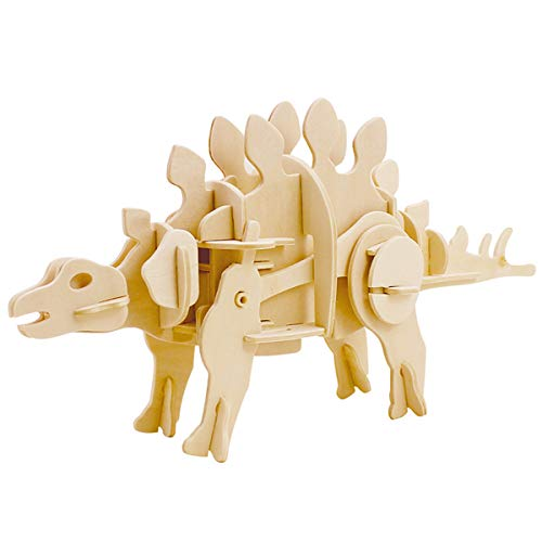 ROKR Walking Dinosaur-3D Wooden Puzzle-Action Moveable Toy Figures Model Building Kits Brain Teasers Boys Girls Adult-Real auto-Move Mini Stegosaurus