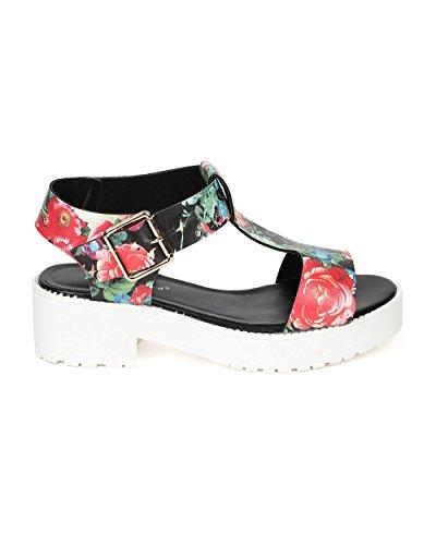 Breckelles Ce16 Kvinner Floral Peep Toe T-stropp Chunky Hæl Flatform Sandal - Rød Lær