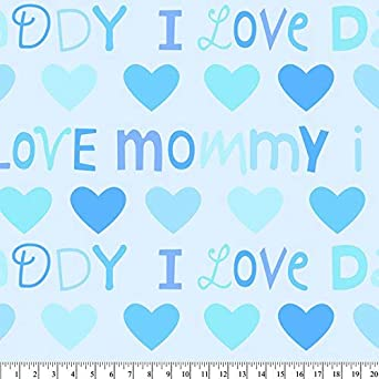 72x60 Mommy Daddy Love Anti-Pill Fleece Fabric No Sew Throw Kit