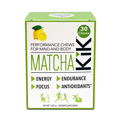 Matcha KiK Performance Chews – Energy, Endurance, Mental Focus, Antioxidants – Lemon Flavor – 30 Chews per Box – for Sport Performance and The Workplace – Vegan, Gluten Free, Keto-Friendly