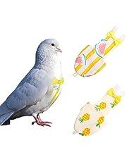 KAMA BRIDAL Bird Diaper Parrot Washable Diaper Nappies for Pigeon Parakeet Cockatiel Macaw Budgie Canary Flight Suit 2 Pcs