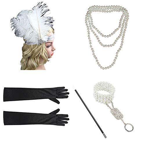 with Accessories Set for Women 1920s Headband Necklace Gloves Cigarette Holder Flapper Costume (White 1) ()
