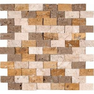 MS International Mixed Travertine 12 in. x 12 in. Splitface Travertine Mesh-Mounted Mosaic Wall Tile - Box of 5 sqf