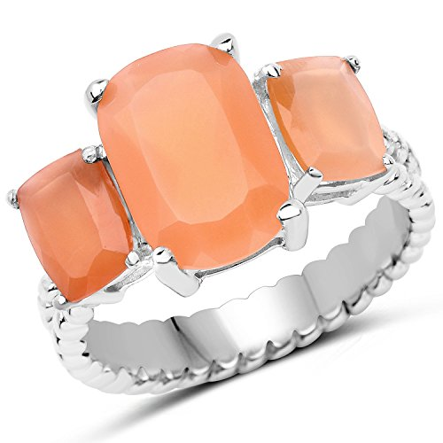 Peach Moonstone Ring - Saris and Things 925 Sterling Silver Genuine Peach Moonstone Ring (4.90 Carat) Size 7