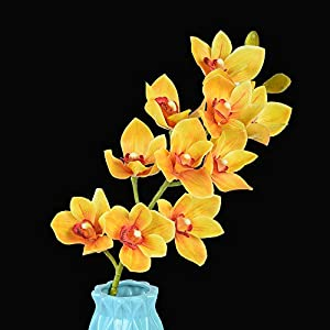 "Homcomoda Artificial Silk Cymbidium Orchid Flowers 28"" Pack 3 Real Touch Artificial Branches 10 Heads Arrangement for Home Party Wedding Office Flowers DIY Decoration (Yellow) 7"