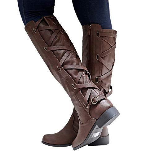 Women Rome Boots, Familizo Women Autumn Winter Short Plush Shoes Buckle Roman Riding Knee High Cowboy Boots Martin Ladies Long Boots Coffee