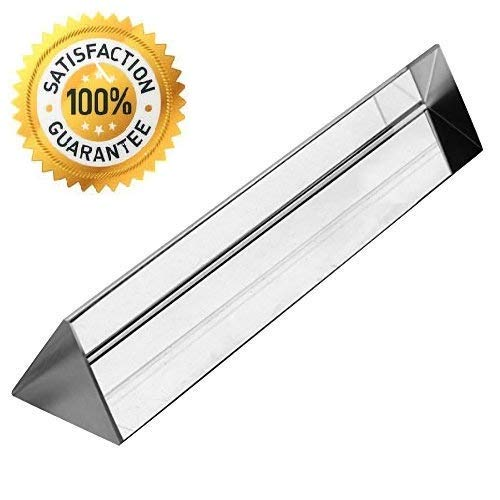 Optical Glass Triangular Prism Refactor for Teaching Light Spectrum, Photography Effects. K9 Crystal Clarity, 140mm