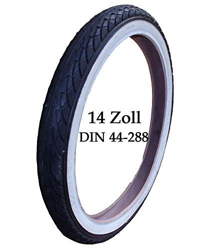 Kinderwagen Reifen Mantel mit weißen Rand + Schlauch 14 x 1 3/8 x 1 5/8 Zoll DIN 44 - 288 Bebetto