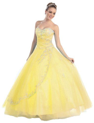 Ball Gown Formal Prom Strapless Wedding Dress #586 (16, Yellow)