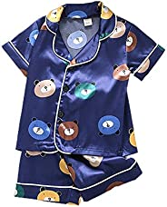 Calsunbaby Newborn Baby Girl Boy Notch Collar Silk Satin Button-Down Pjs Nightwear Sleepwear Loungewear 2Pcs P