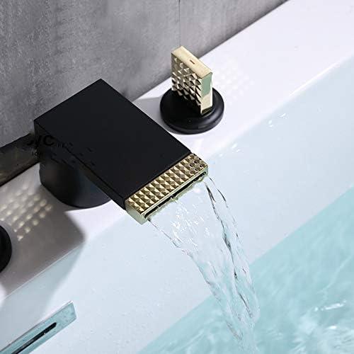 滝浴槽の蛇口温水と冷水広範囲5穴3ハンドル真鍮バスルームの浴槽の蛇口デッキマウントバスシャワーミキサータップハンドヘルドシャワー付き,白