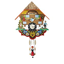 Miniature Quartz Swinging Doll Cuckoo Clock as Heidi's Chalet, 7.5 Inch