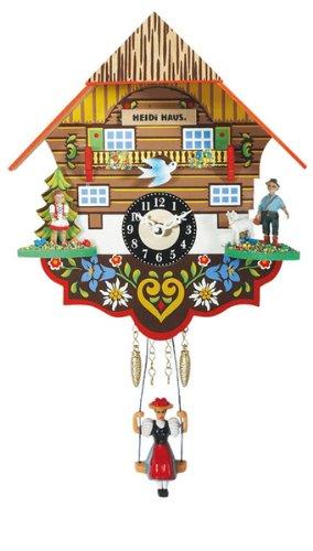 Miniature Quartz Swinging Doll Cuckoo Clock as Heidi's Chalet, 7.5 Inch