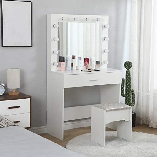41kH4R1FXbL. AC Vanity Set with Lighted Mirror, Makeup Vanity Dressing Table Dresser Desk with Large Drawer for Bedroom, Walnut Bedroom Furniture(12 Cool LED Bulbs) (White, A)    Product description