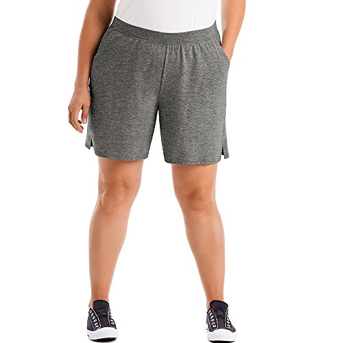 (Just My Size Womens Cotton Jersey Pull-On Shorts, 4X, Charcoal Heather)