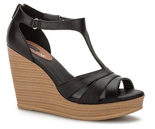 True Comfort T-Bar Women's Wedges Sandals Platform Ankle Strap Genuine Leather & Memory Foam (5.5, Black)
