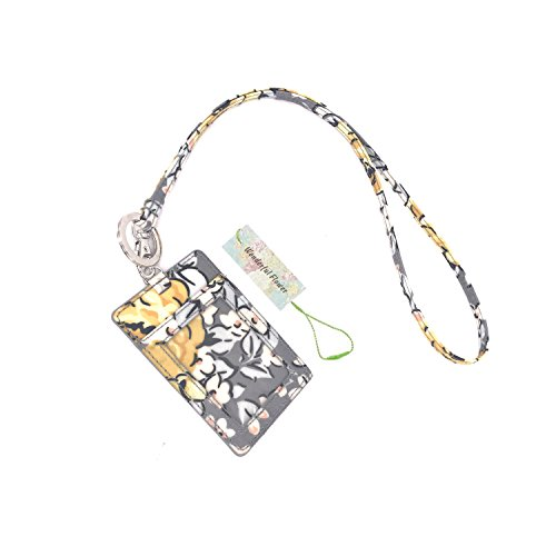 Wonderful Flower Id Case and Lanyard (G05 GrayYellow)
