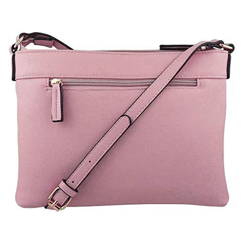 Crossbody Handbags Purses Lightweight Medium Leather Multi Pockets Zipper Tassel Shoulder Bag For Women