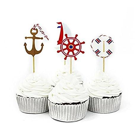 Amazon.com: Laz-Tipa – 24 púas decorativas para cupcakes de ...