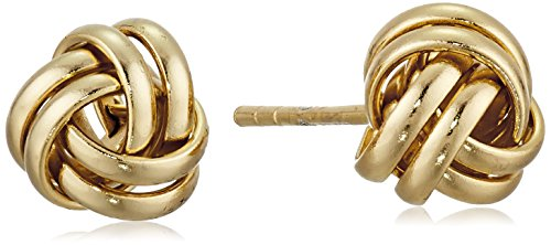 Yellow Gold Twist Earrings (Gold Plated Sterling Silver Thick Love Knot Post Stud Earrings)