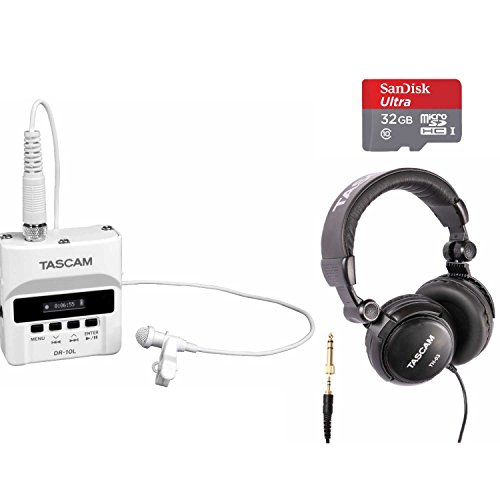 Tascam Single - Tascam DR-10L White Digital Recorder Lav Mic System with 32GB SD Card and Headphones