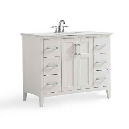 Simpli Home Winston 42 inch Bath Vanity with Quartz Marble Top, Soft White