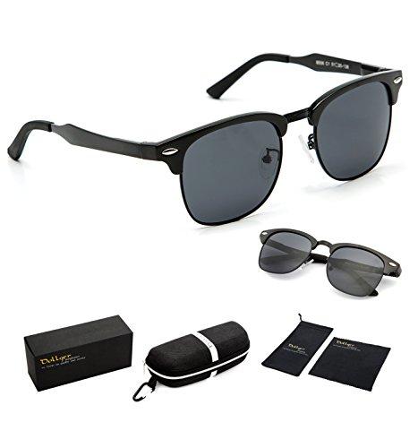 Dollger Clubmaster Polarized Wayfarer Sunglasses Horn Rimmed Half Frame ( Black Lens+Black Frame )