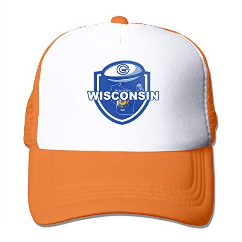 Good Wish Unisex Wisconsin Map Football Team Logo Trucker Cap Suitable for Indoor or Outdoor Activities Orange ()