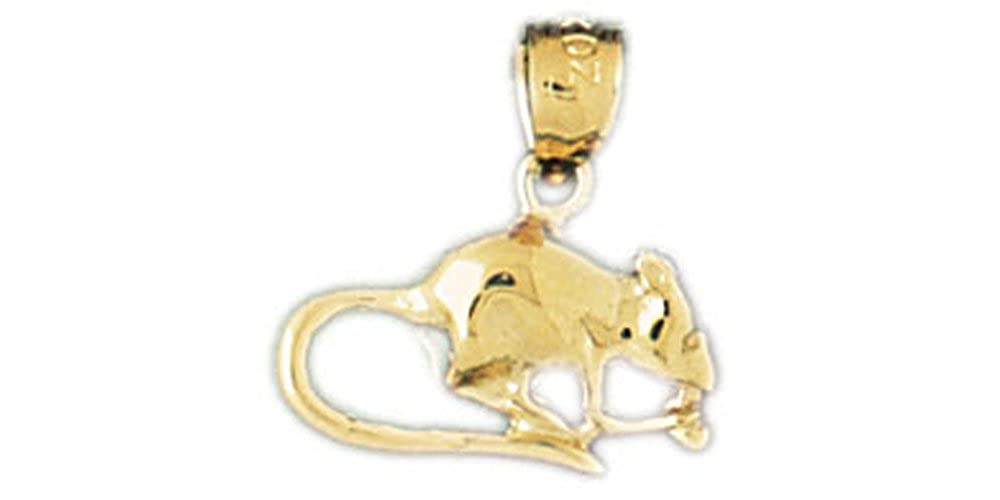 14k Yellow Gold Mouse Pendant