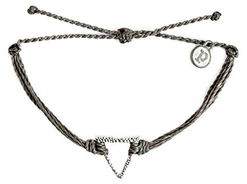 Pura Vida Silver Hammered Triangle Dark Grey Bracelet - Silver Plated Charm, Adjustable Band - 100% - Plated Silver Dark